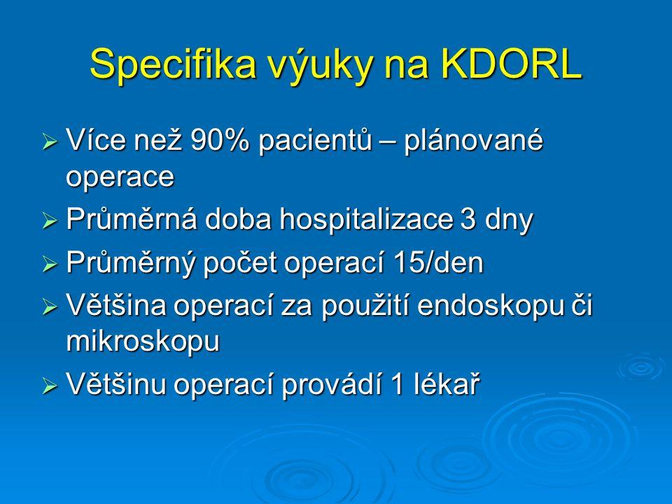 Specifika výuky na KDORL  Více než 90% pacientů – plánované operace  Průměrná doba hospitalizace 3 dny  Průměrný počet operací 15/den  Většina operací za použití endoskopu či mikroskopu  Většinu operací provádí 1 lékař