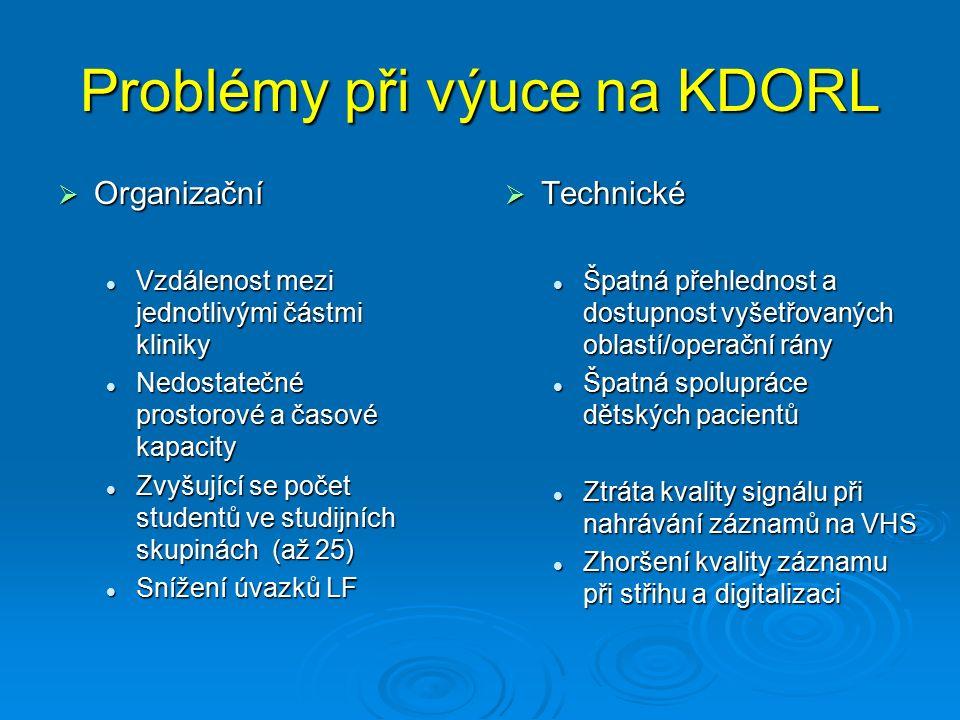 Problémy při výuce na KDORL  Organizační Vzdálenost mezi jednotlivými částmi kliniky Vzdálenost mezi jednotlivými částmi kliniky Nedostatečné prostor