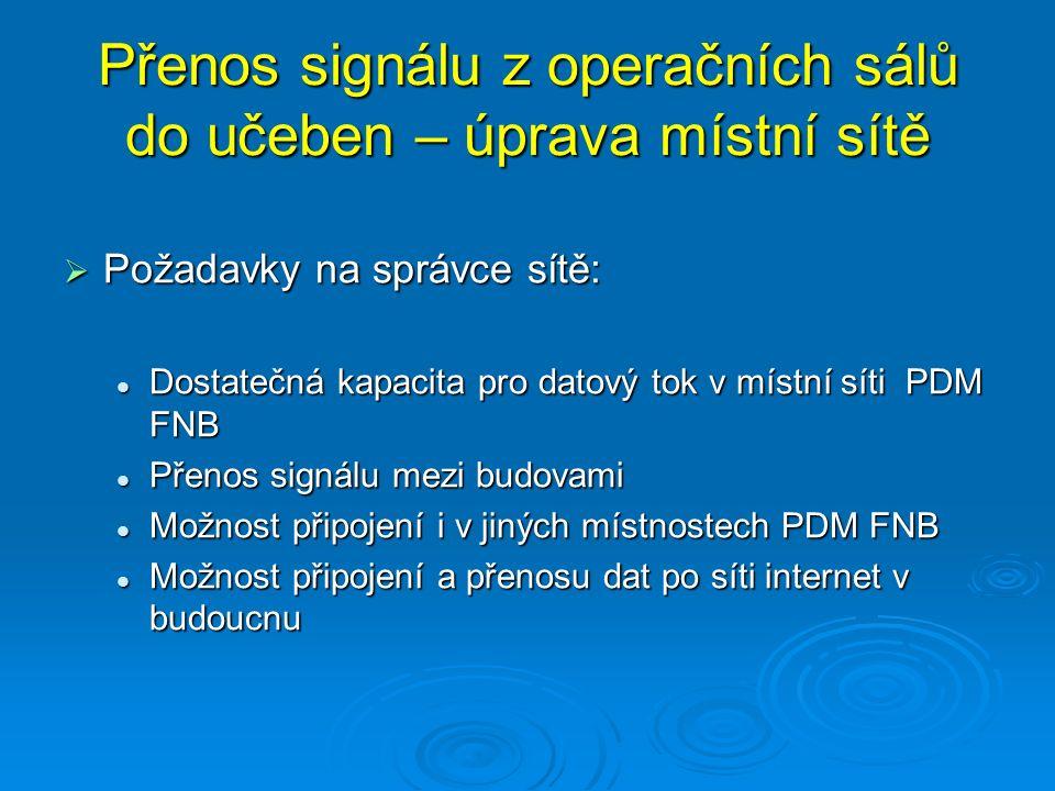 Přenos signálu z operačních sálů do učeben – úprava místní sítě  Požadavky na správce sítě: Dostatečná kapacita pro datový tok v místní síti PDM FNB Dostatečná kapacita pro datový tok v místní síti PDM FNB Přenos signálu mezi budovami Přenos signálu mezi budovami Možnost připojení i v jiných místnostech PDM FNB Možnost připojení i v jiných místnostech PDM FNB Možnost připojení a přenosu dat po síti internet v budoucnu Možnost připojení a přenosu dat po síti internet v budoucnu