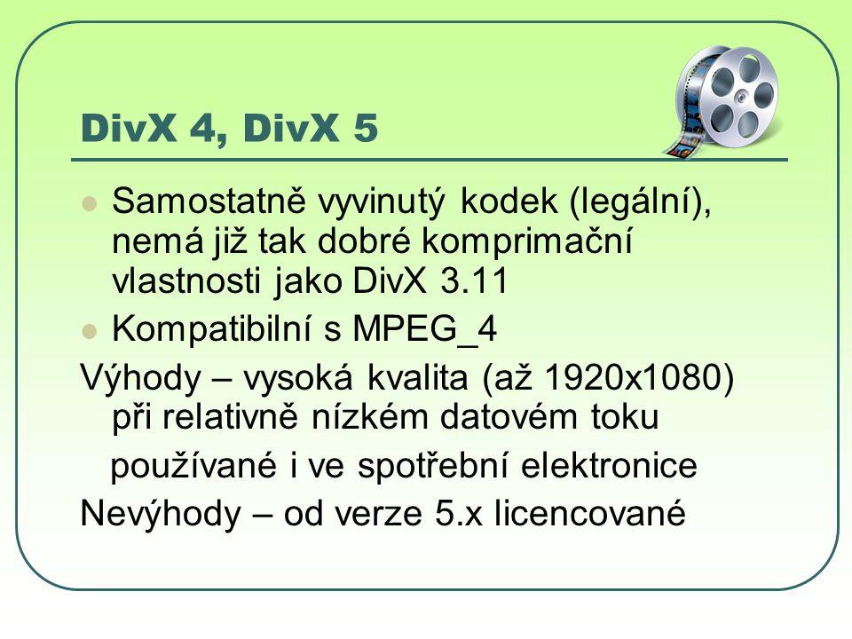 DivX 4, DivX 5 Samostatně vyvinutý kodek (legální), nemá již tak dobré komprimační vlastnosti jako DivX 3.11 Kompatibilní s MPEG_4 Výhody – vysoká kvalita (až 1920x1080) při relativně nízkém datovém toku používané i ve spotřební elektronice Nevýhody – od verze 5.x licencované