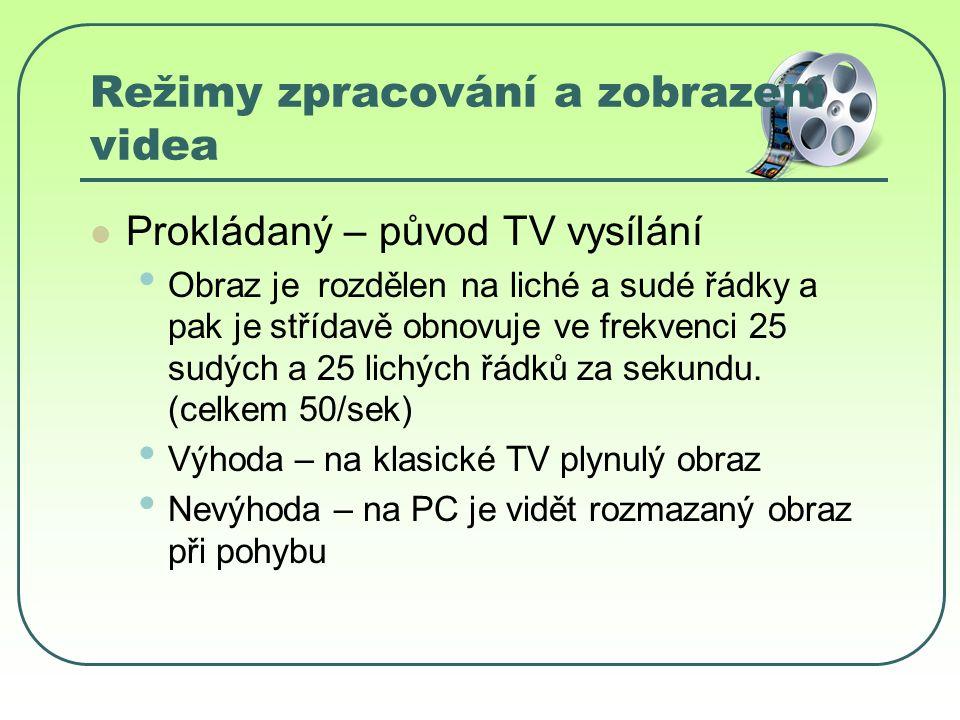 Režimy zpracování a zobrazení videa Prokládaný – původ TV vysílání Obraz je rozdělen na liché a sudé řádky a pak je střídavě obnovuje ve frekvenci 25 sudých a 25 lichých řádků za sekundu.