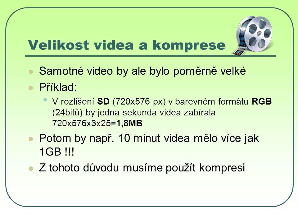 Velikost videa a komprese Samotné video by ale bylo poměrně velké Příklad: V rozlišení SD (720x576 px) v barevném formátu RGB (24bitů) by jedna sekunda videa zabírala 720x576x3x25=1,8MB Potom by např.