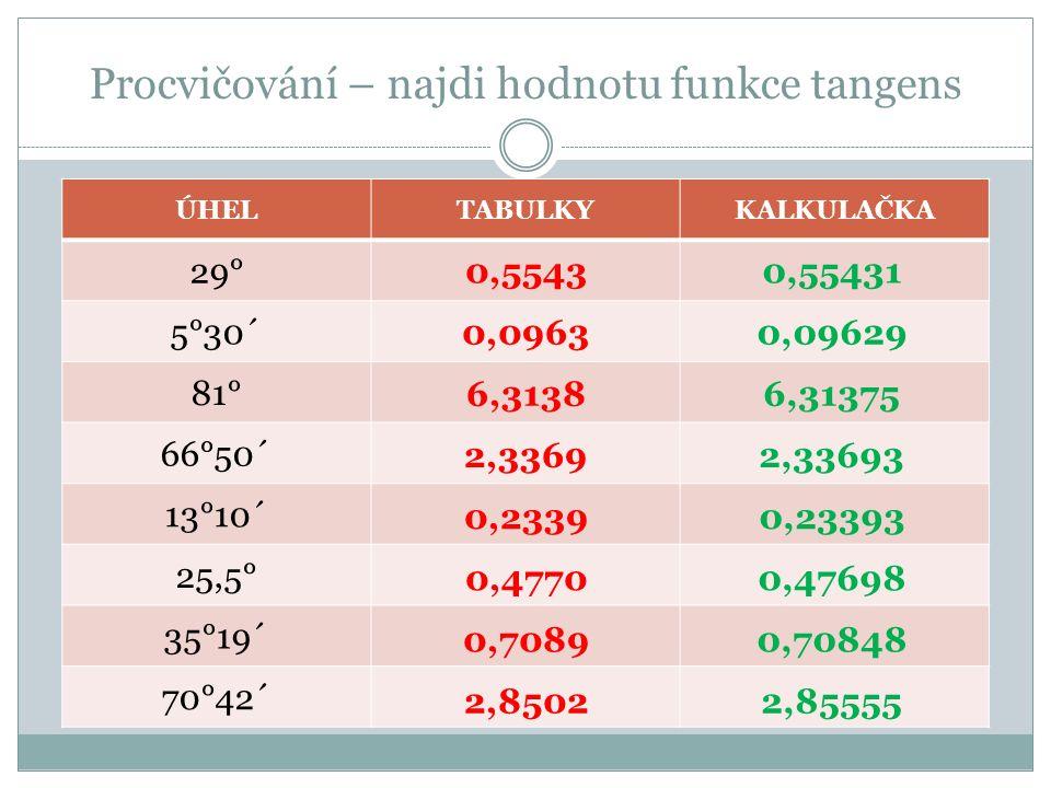 Procvičování – najdi hodnotu funkce tangens ÚHELTABULKYKALKULAČKA 29° 5°30´ 81° 66°50´ 13°10´ 25,5° 35°19´ 70°42´ 0,5543 0,0963 2,3369 0,2339 0,4770 0