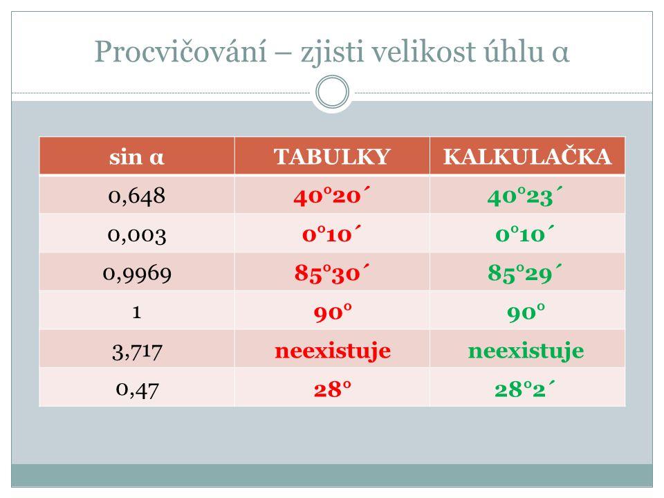 Procvičování – zjisti velikost úhlu α sin αTABULKYKALKULAČKA 0,648 0,003 0,9969 1 3,717 0,47 40°20´ 0°10´ 90° neexistuje 28° 85°30´ 40°23´ 0°10´ 90° neexistuje 28°2´ 85°29´