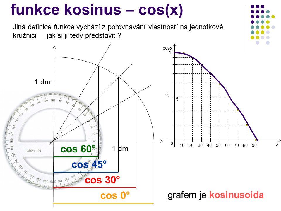 grafem je kosinusoida 1 dm cos 30° cos 45° cos 60° cos 0° 102030405060708090 0 1 0, 5 cos   funkce kosinus – cos(x) Jiná definice funkce vychází z porovnávání vlastností na jednotkové kružnici - jak si ji tedy představit
