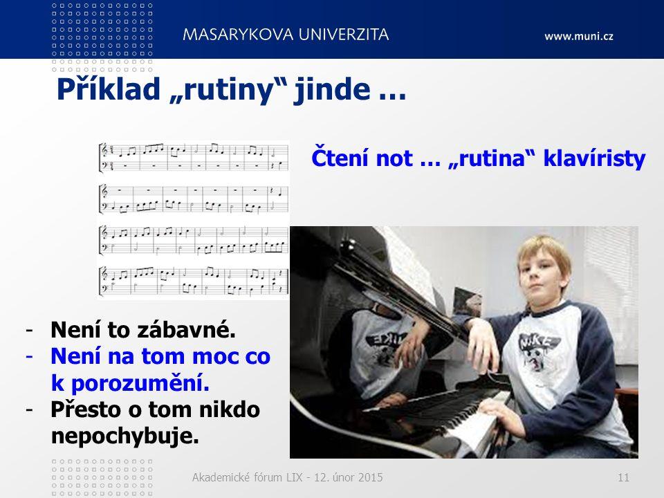 """Akademické fórum LIX - 12. únor 201511 Příklad """"rutiny"""" jinde … Čtení not … """"rutina"""" klavíristy -Není to zábavné. -Není na tom moc co k porozumění. -P"""