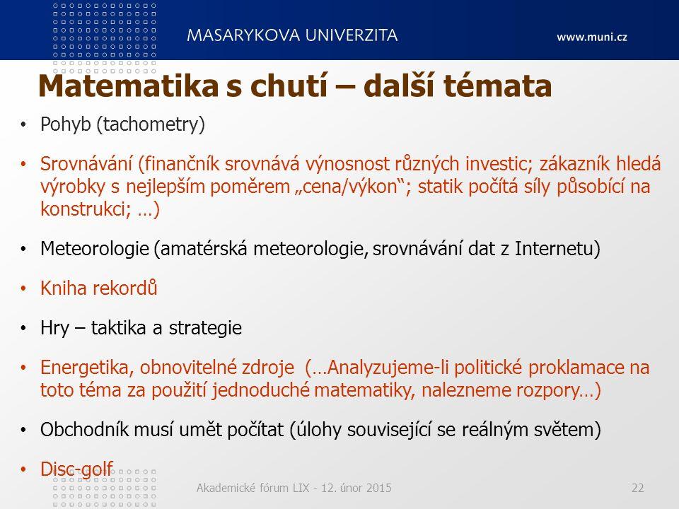 Matematika s chutí – další témata Akademické fórum LIX - 12. únor 201522 Pohyb (tachometry) Srovnávání (finančník srovnává výnosnost různých investic;