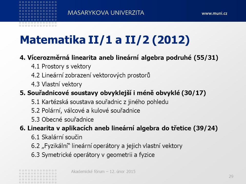 Akademické fórum – 12. únor 2015 Matematika II/1 a II/2 (2012) 4. Vícerozměrná linearita aneb lineární algebra podruhé (55/31) 4.1 Prostory s vektory
