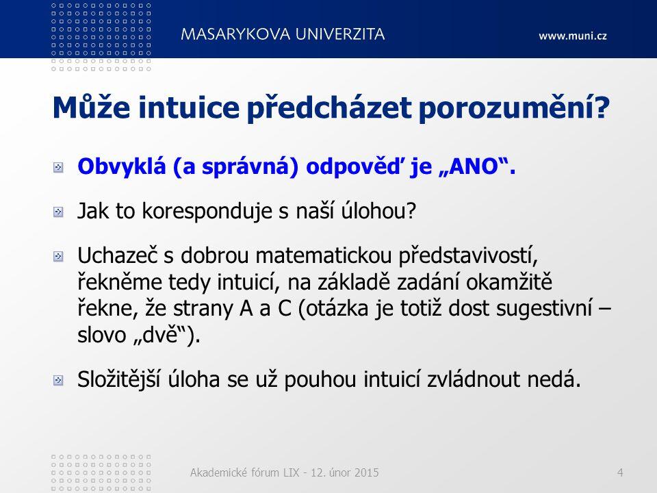 """Akademické fórum LIX - 12. únor 20154 Může intuice předcházet porozumění? Obvyklá (a správná) odpověď je """"ANO"""". Jak to koresponduje s naší úlohou? Uch"""