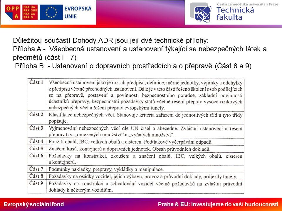 Důležitou součástí Dohody ADR jsou její dvě technické přílohy: Příloha A - Všeobecná ustanovení a ustanovení týkající se nebezpečných látek a předmětů (část I - 7) Příloha B - Ustanovení o dopravních prostředcích a o přepravě (Část 8 a 9)