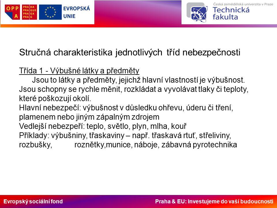 Evropský sociální fond Praha & EU: Investujeme do vaší budoucnosti Stručná charakteristika jednotlivých tříd nebezpečnosti Třída 1 - Výbušné látky a předměty Jsou to látky a předměty, jejichž hlavní vlastností je výbušnost.