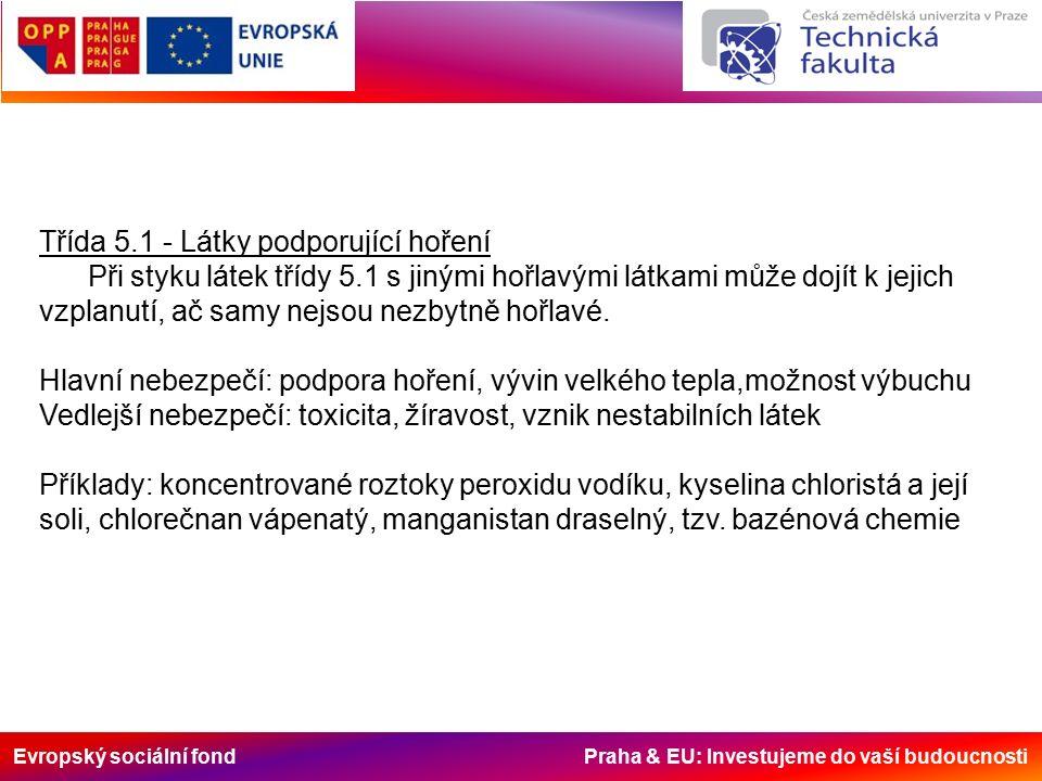 Evropský sociální fond Praha & EU: Investujeme do vaší budoucnosti Třída 5.1 - Látky podporující hoření Při styku látek třídy 5.1 s jinými hořlavými látkami může dojít k jejich vzplanutí, ač samy nejsou nezbytně hořlavé.
