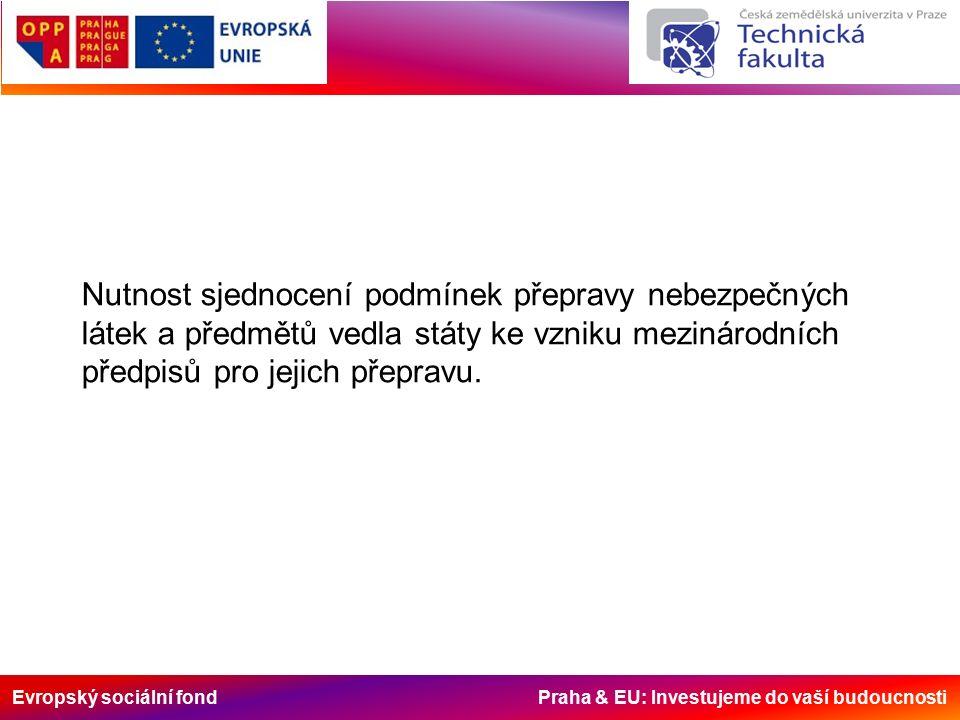 Evropský sociální fond Praha & EU: Investujeme do vaší budoucnosti TŘÍDA 5.1 Látky podporující hoření (č.