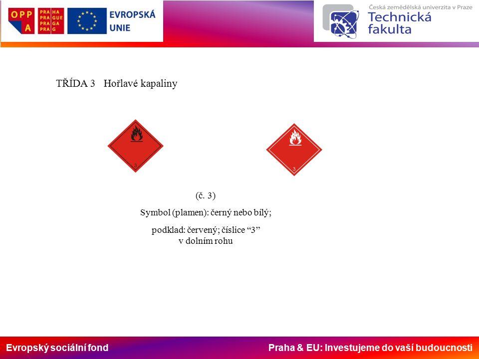 Evropský sociální fond Praha & EU: Investujeme do vaší budoucnosti TŘÍDA 3 Hořlavé kapaliny (č.