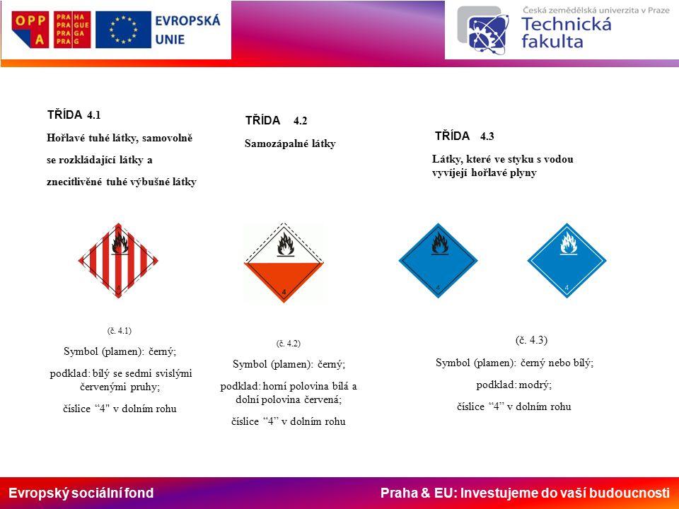 Evropský sociální fond Praha & EU: Investujeme do vaší budoucnosti TŘÍDA 4.1 Hořlavé tuhé látky, samovolně se rozkládající látky a znecitlivěné tuhé výbušné látky (č.
