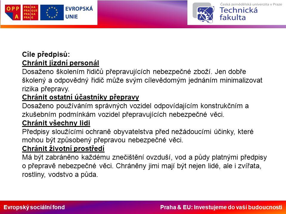 Evropský sociální fond Praha & EU: Investujeme do vaší budoucnosti Cíle předpisů: Chránit jízdní personál Dosaženo školením řidičů přepravujících nebezpečné zboží.