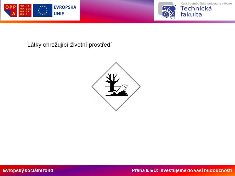 Evropský sociální fond Praha & EU: Investujeme do vaší budoucnosti Látky ohrožující životní prostředí