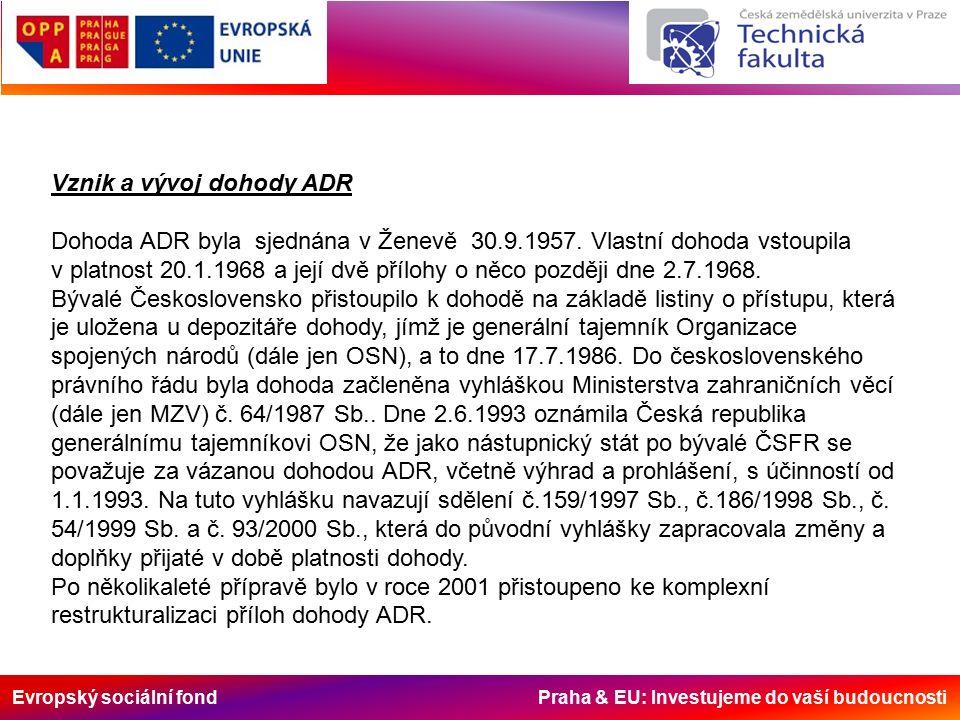 Evropský sociální fond Praha & EU: Investujeme do vaší budoucnosti Vznik a vývoj dohody ADR Dohoda ADR byla sjednána v Ženevě 30.9.1957.