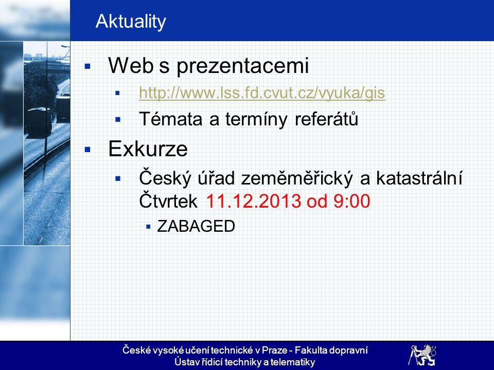 České vysoké učení technické v Praze - Fakulta dopravní Ústav řídicí techniky a telematiky Aktuality  Web s prezentacemi  http://www.lss.fd.cvut.cz/vyuka/gis http://www.lss.fd.cvut.cz/vyuka/gis  Témata a termíny referátů  Exkurze  Český úřad zeměměřický a katastrální Čtvrtek 11.12.2013 od 9:00  ZABAGED