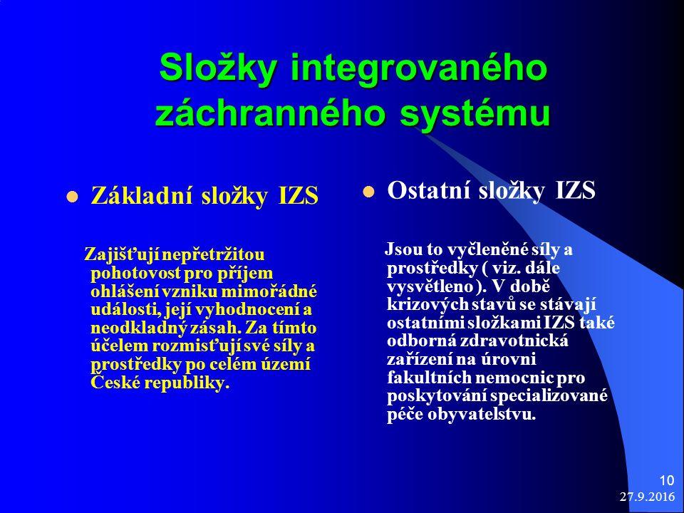 27.9.2016 10 Složky integrovaného záchranného systému Základní složky IZS Zajišťují nepřetržitou pohotovost pro příjem ohlášení vzniku mimořádné události, její vyhodnocení a neodkladný zásah.