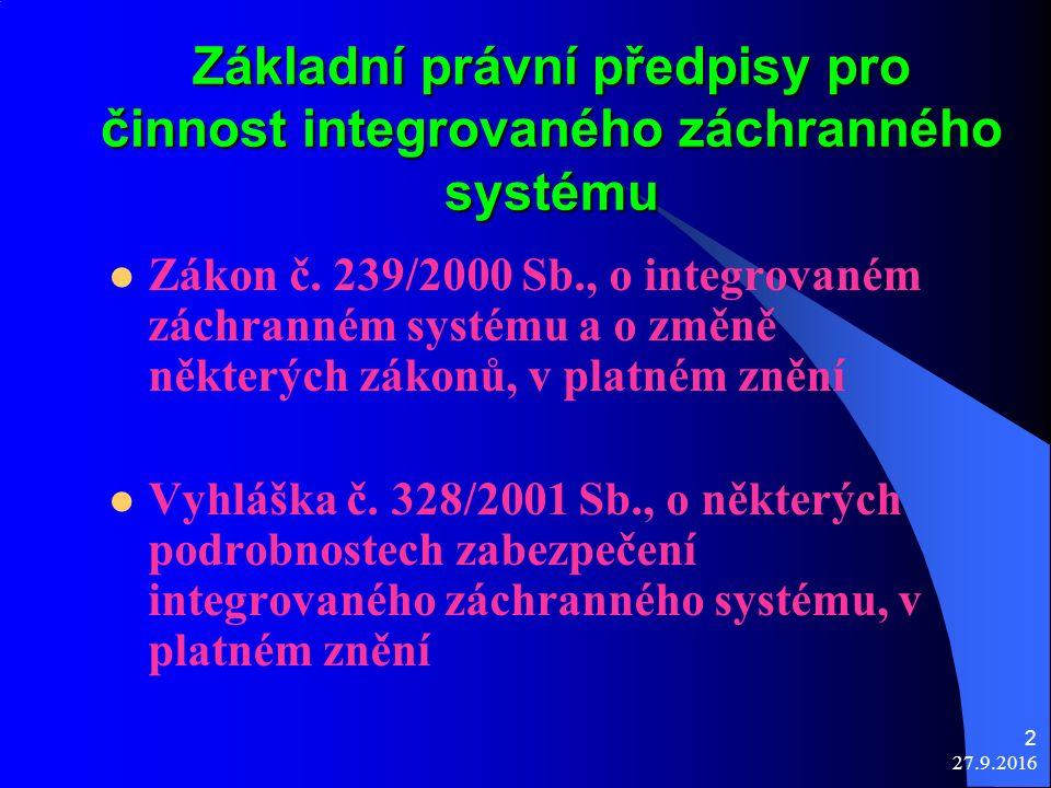 2 Základní právní předpisy pro činnost integrovaného záchranného systému Zákon č.
