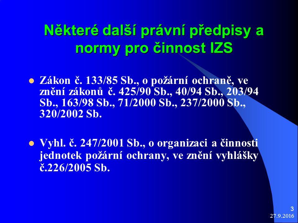 27.9.2016 3 Některé další právní předpisy a normy pro činnost IZS Zákon č.