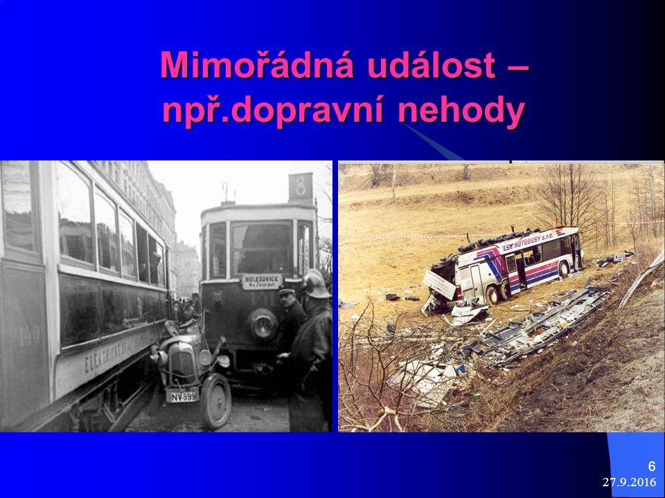 27.9.2016 6 Mimořádná událost – npř.dopravní nehody