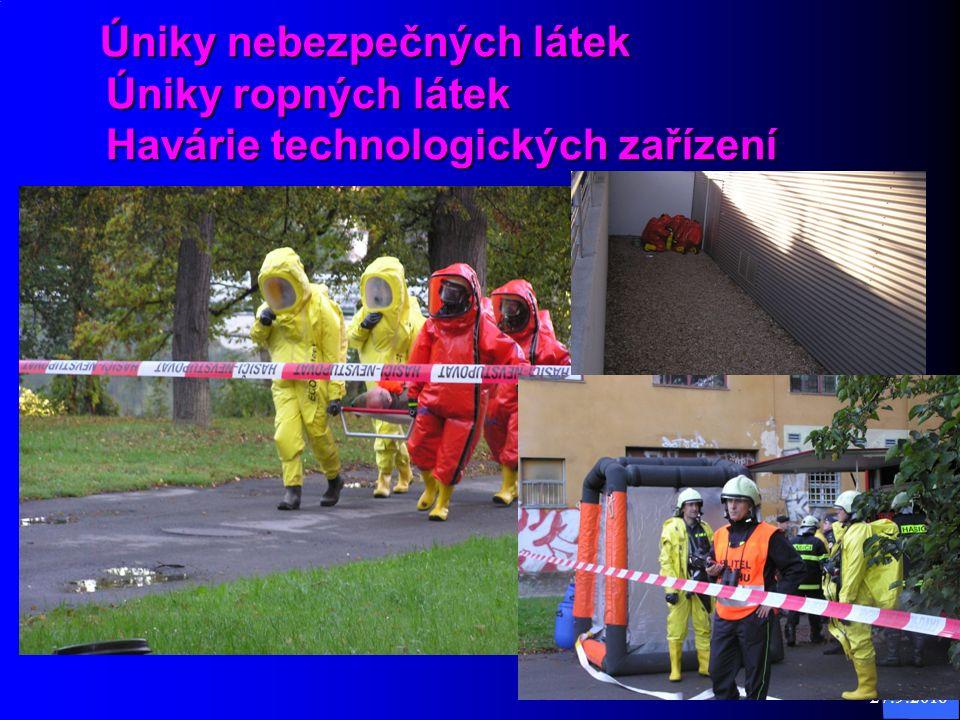 27.9.2016 8 Úniky nebezpečných látek Úniky ropných látek Havárie technologických zařízení Úniky nebezpečných látek Úniky ropných látek Havárie technologických zařízení