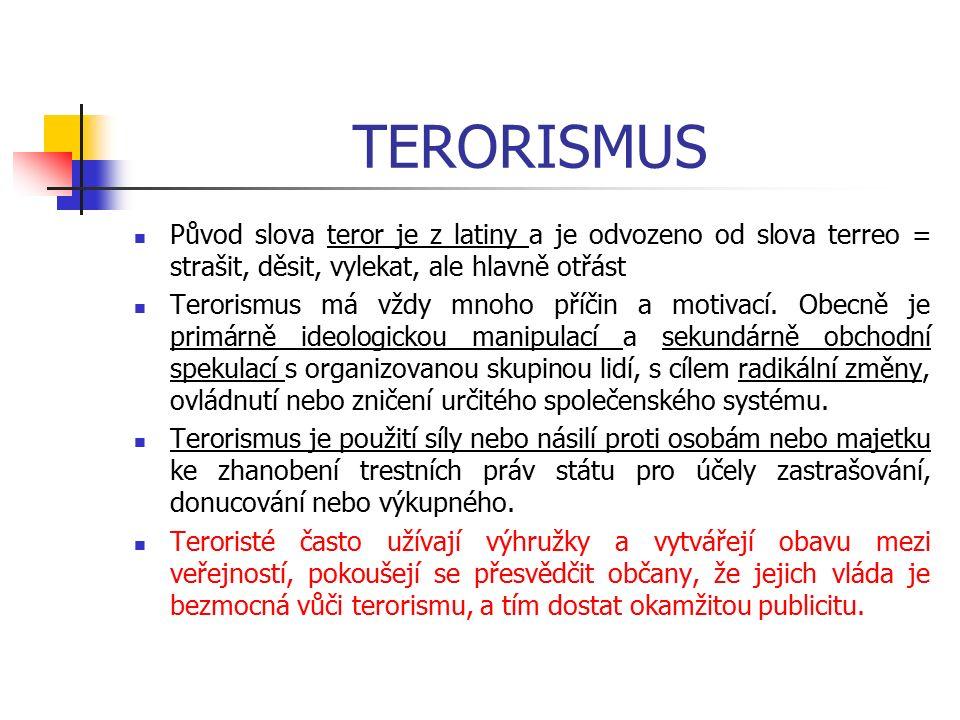 TERORISMUS Původ slova teror je z latiny a je odvozeno od slova terreo = strašit, děsit, vylekat, ale hlavně otřást Terorismus má vždy mnoho příčin a motivací.