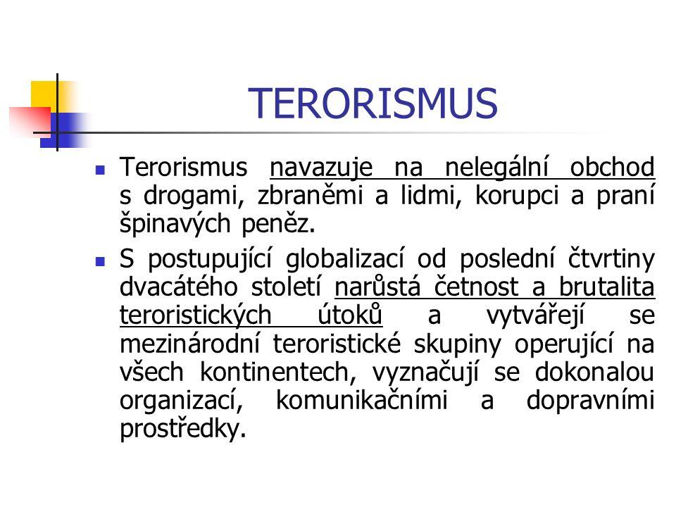 TERORISMUS Terorismus navazuje na nelegální obchod s drogami, zbraněmi a lidmi, korupci a praní špinavých peněz.