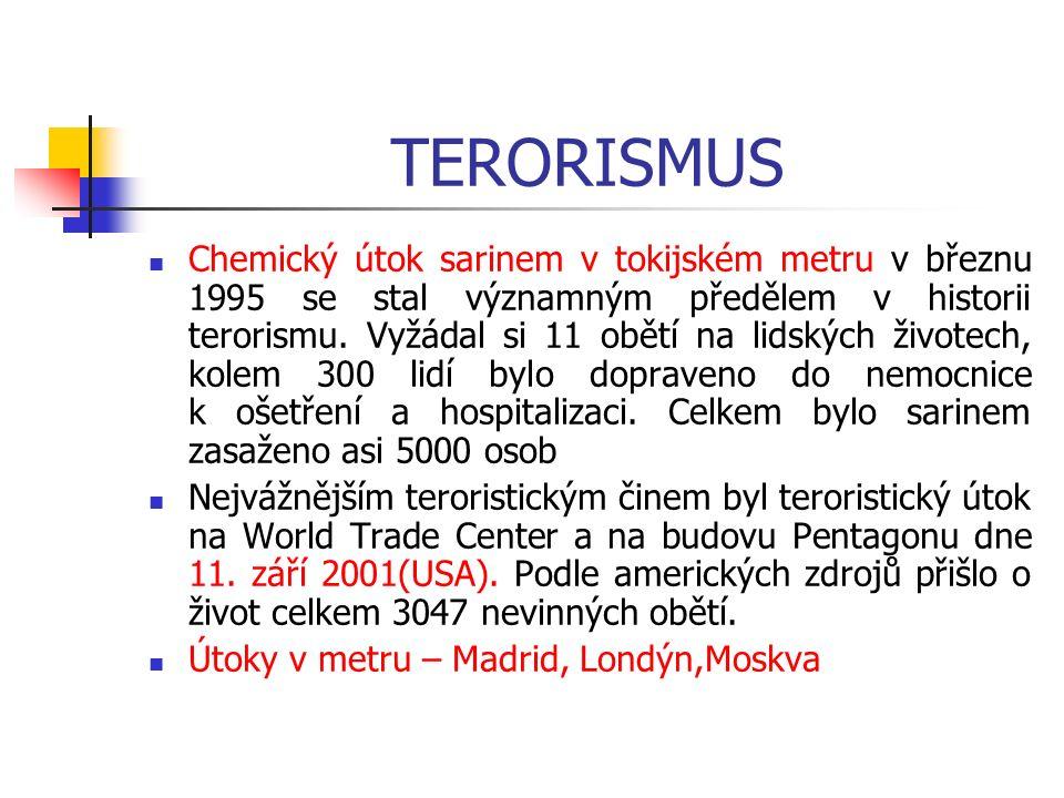 Teroristické útoky Jsou nejčastěji doprovázeny použitím: výbušnin mohou být doprovázeny i použitím jaderných, radiologických, chemických a biologických zbraní, látek a prostředků.