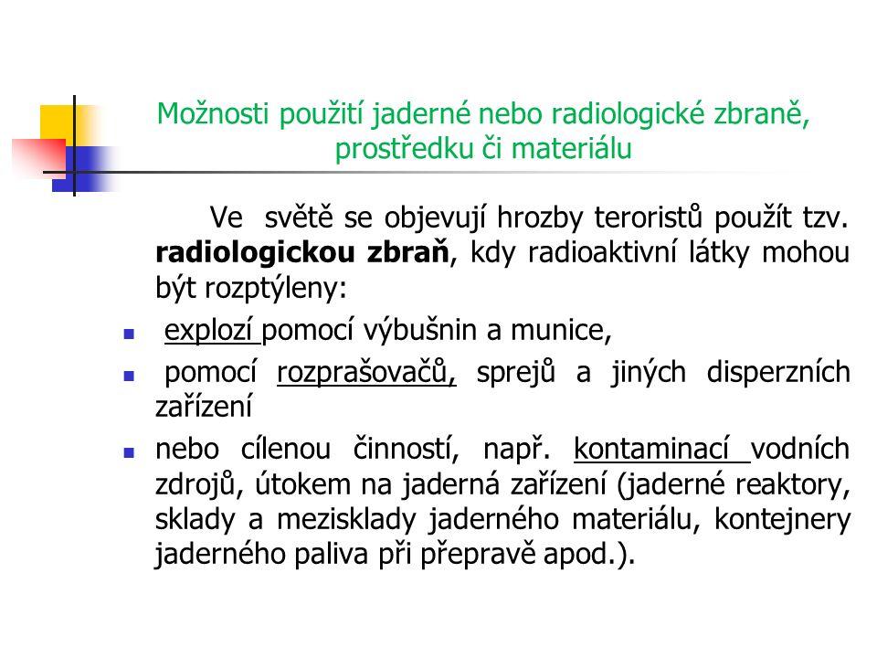 Možnosti použití jaderné nebo radiologické zbraně, prostředku či materiálu Ve světě se objevují hrozby teroristů použít tzv.