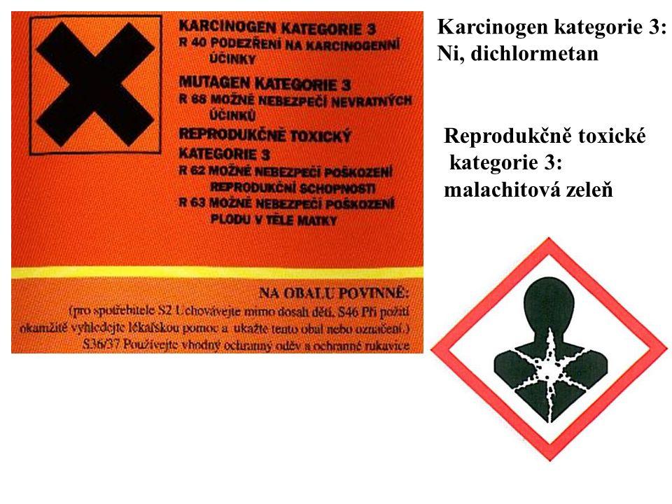 Karcinogen kategorie 3: Ni, dichlormetan Reprodukčně toxické kategorie 3: malachitová zeleň