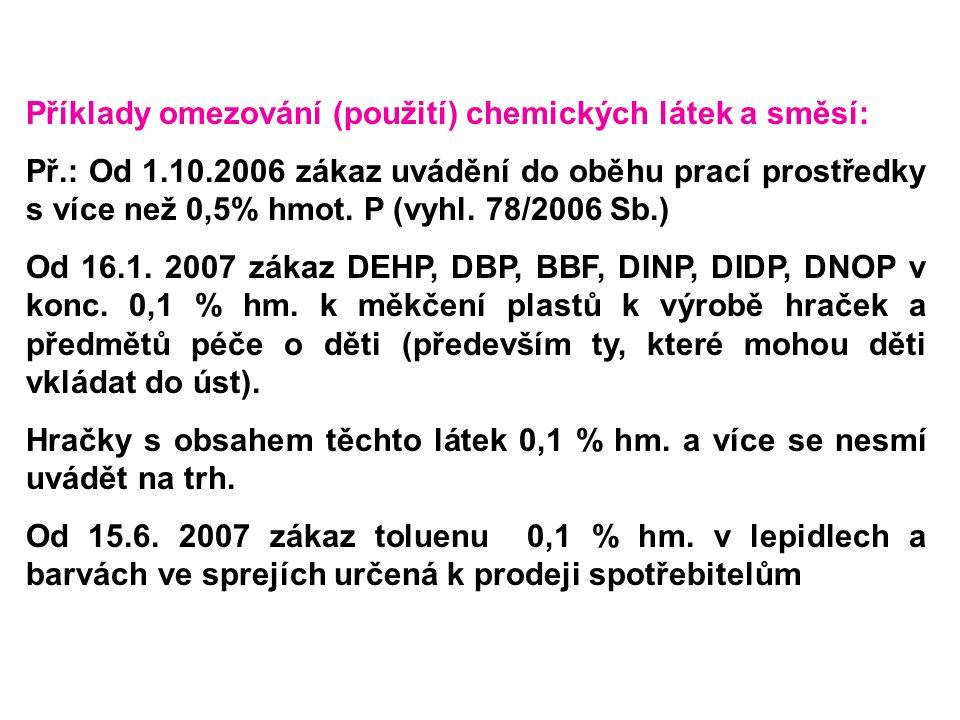Příklady omezování (použití) chemických látek a směsí: Př.: Od 1.10.2006 zákaz uvádění do oběhu prací prostředky s více než 0,5% hmot. P (vyhl. 78/200
