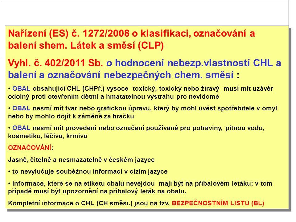 Nařízení (ES) č. 1272/2008 o klasifikaci, označování a balení shem. Látek a směsí (CLP) Vyhl. č. 402/2011 Sb. o hodnocení nebezp.vlastností CHL a bale