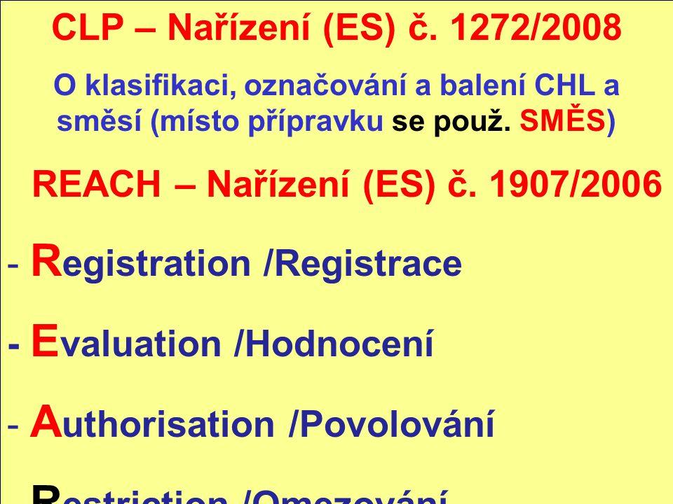 CLP – Nařízení (ES) č. 1272/2008 O klasifikaci, označování a balení CHL a směsí (místo přípravku se použ. SMĚS) REACH – Nařízení (ES) č. 1907/2006 - R