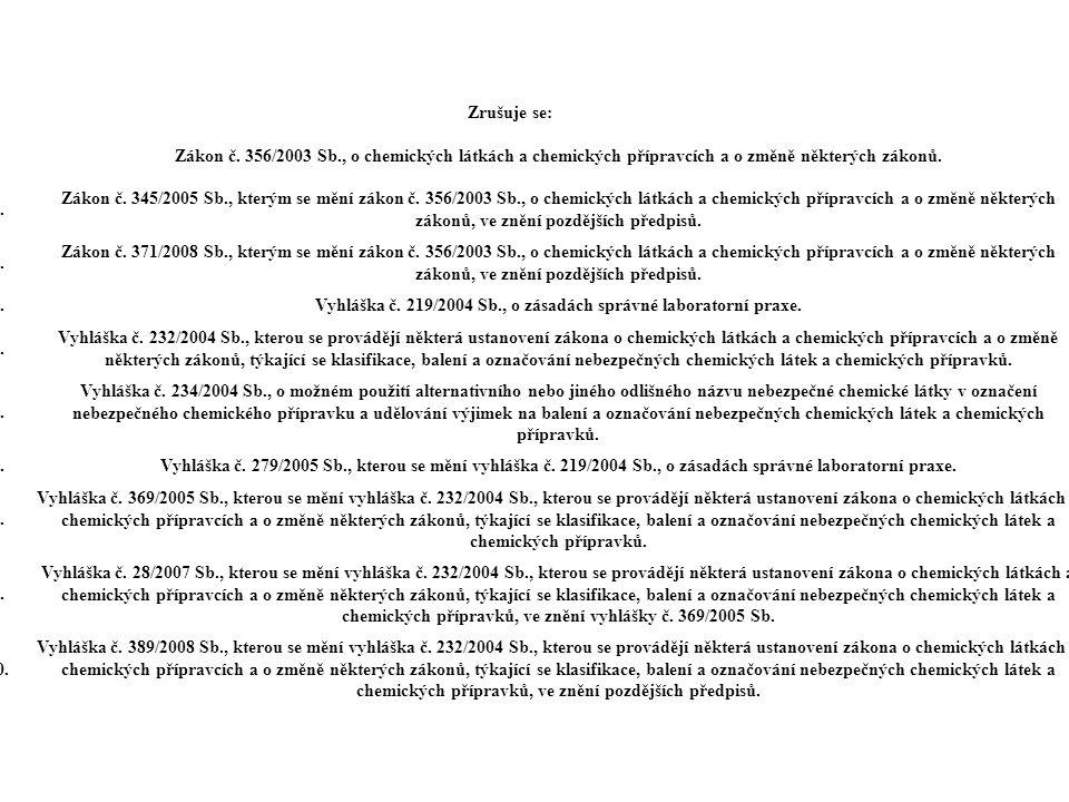 Zrušuje se: 1. Zákon č. 356/2003 Sb., o chemických látkách a chemických přípravcích a o změně některých zákonů. 2. Zákon č. 345/2005 Sb., kterým se mě