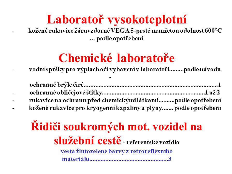 Laboratoř vysokoteplotní - kožené rukavice žáruvzdorné VEGA 5-prsté manžetou odolnost 600°C... podle opotřebení Chemické laboratoře - vodní spršky pro