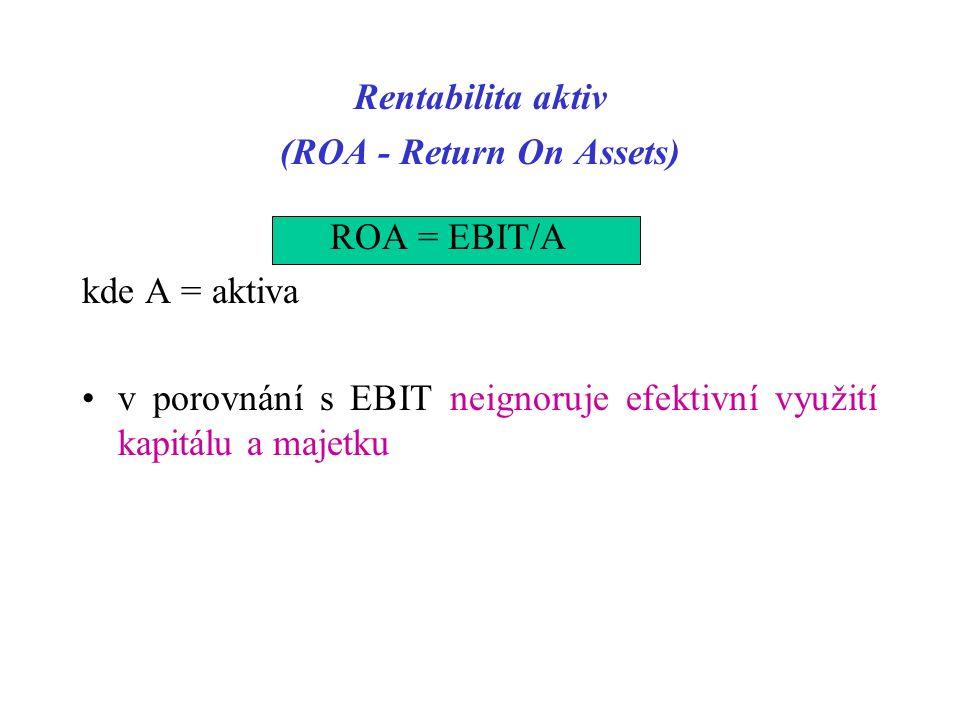 Rentabilita aktiv (ROA - Return On Assets) ROA = EBIT/A kde A = aktiva v porovnání s EBIT neignoruje efektivní využití kapitálu a majetku