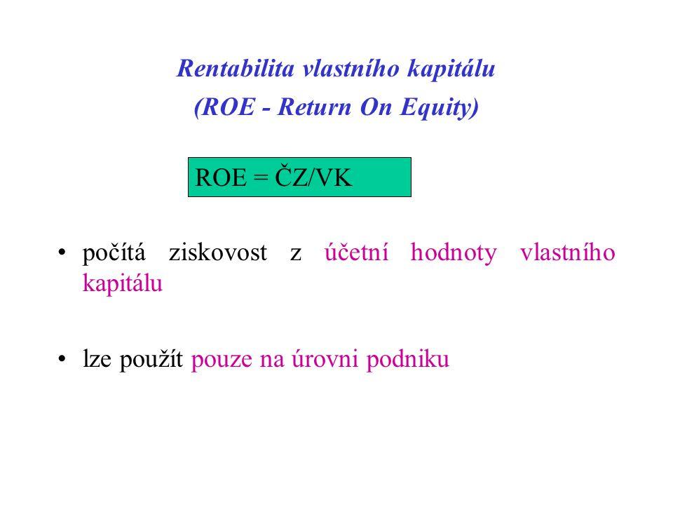 Rentabilita vlastního kapitálu (ROE - Return On Equity) ROE = ČZ/VK počítá ziskovost z účetní hodnoty vlastního kapitálu lze použít pouze na úrovni podniku