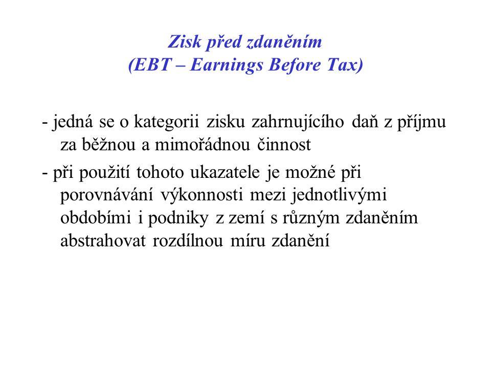 Zisk před zdaněním (EBT – Earnings Before Tax) - jedná se o kategorii zisku zahrnujícího daň z příjmu za běžnou a mimořádnou činnost - při použití tohoto ukazatele je možné při porovnávání výkonnosti mezi jednotlivými obdobími i podniky z zemí s různým zdaněním abstrahovat rozdílnou míru zdanění