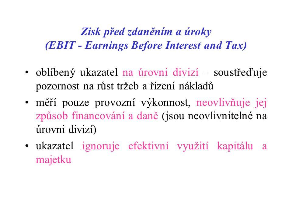 Zisk před zdaněním a úroky (EBIT - Earnings Before Interest and Tax) oblíbený ukazatel na úrovni divizí – soustřeďuje pozornost na růst tržeb a řízení nákladů měří pouze provozní výkonnost, neovlivňuje jej způsob financování a daně (jsou neovlivnitelné na úrovni divizí) ukazatel ignoruje efektivní využití kapitálu a majetku