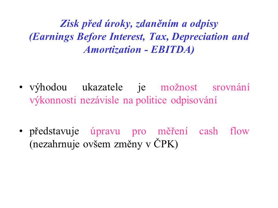 Zisk před úroky, zdaněním a odpisy (Earnings Before Interest, Tax, Depreciation and Amortization - EBITDA) výhodou ukazatele je možnost srovnání výkonnosti nezávisle na politice odpisování představuje úpravu pro měření cash flow (nezahrnuje ovšem změny v ČPK)