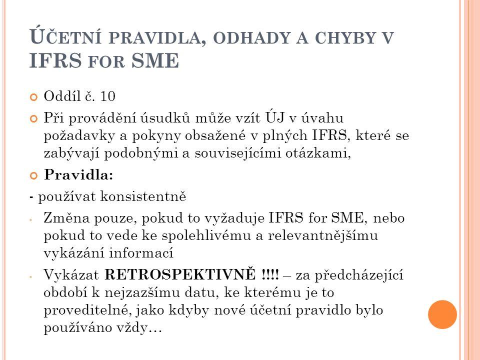 Ú ČETNÍ PRAVIDLA, ODHADY A CHYBY V IFRS FOR SME Oddíl č. 10 Při provádění úsudků může vzít ÚJ v úvahu požadavky a pokyny obsažené v plných IFRS, které