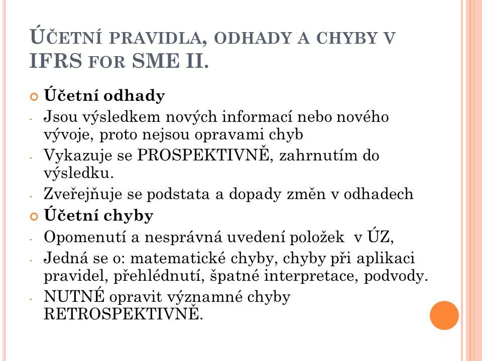 Ú ČETNÍ PRAVIDLA, ODHADY A CHYBY V IFRS FOR SME II.