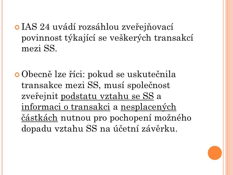 IAS 24 uvádí rozsáhlou zveřejňovací povinnost týkající se veškerých transakcí mezi SS. Obecně lze říci: pokud se uskutečnila transakce mezi SS, musí s