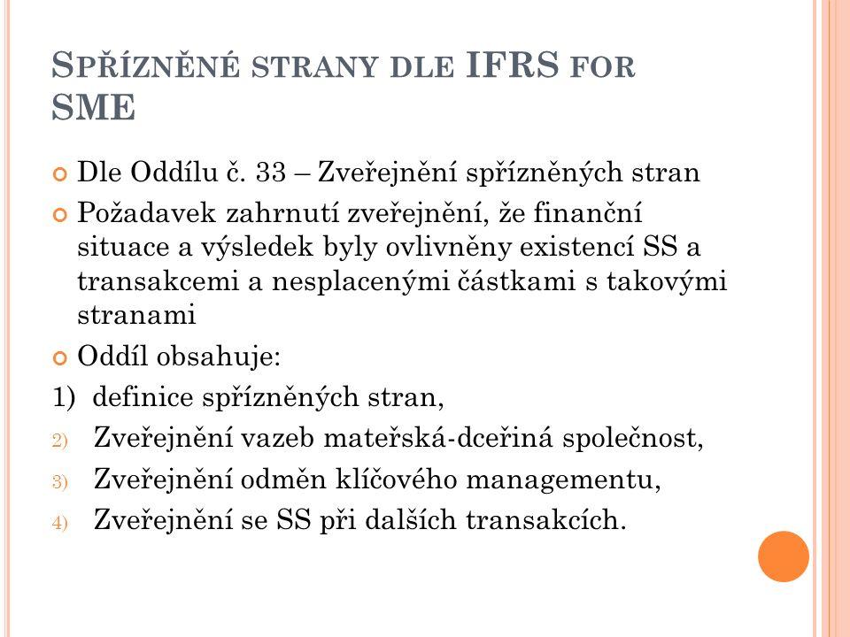 S PŘÍZNĚNÉ STRANY DLE IFRS FOR SME Dle Oddílu č. 33 – Zveřejnění spřízněných stran Požadavek zahrnutí zveřejnění, že finanční situace a výsledek byly