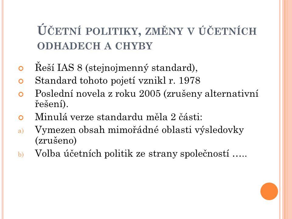 Ú ČETNÍ POLITIKY, ZMĚNY V ÚČETNÍCH ODHADECH A CHYBY Řeší IAS 8 (stejnojmenný standard), Standard tohoto pojetí vznikl r.