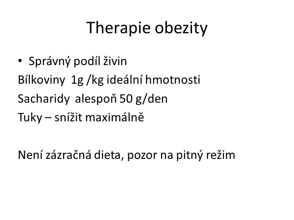 Therapie obezity Správný podíl živin Bílkoviny 1g /kg ideální hmotnosti Sacharidy alespoň 50 g/den Tuky – snížit maximálně Není zázračná dieta, pozor