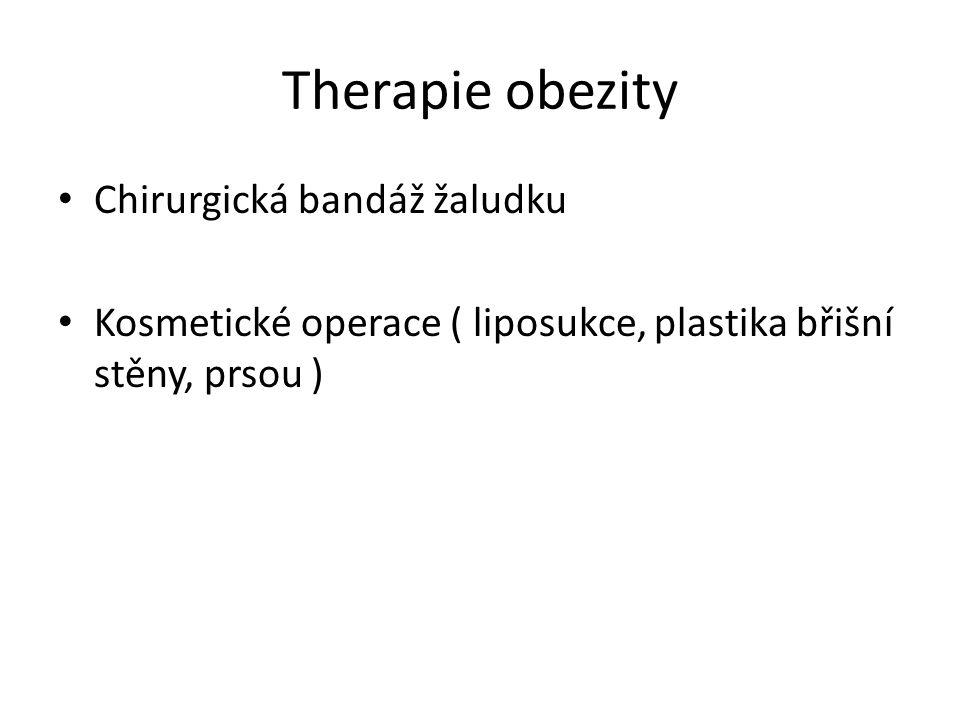 Therapie obezity Chirurgická bandáž žaludku Kosmetické operace ( liposukce, plastika břišní stěny, prsou )